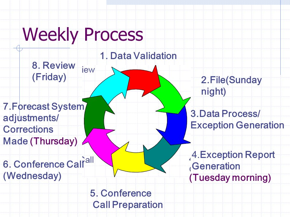 Weekly Process 8. Review (Friday) 1. Data Validation 2.File(Sunday night) 3.Data Process/ Exception Generation 4.Exception Report Generation (Tuesday