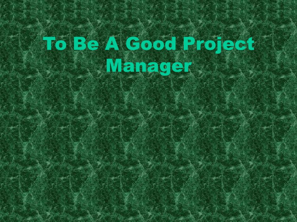 To Be A Good Project Manager