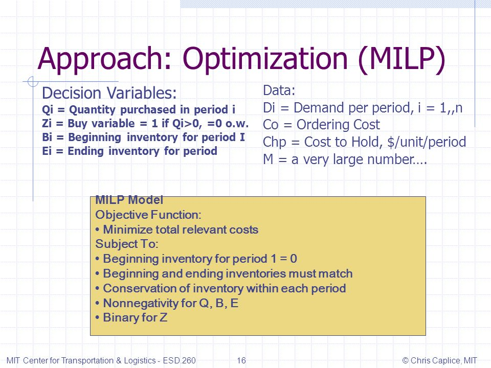 Approach: Optimization (MILP) MIT Center for Transportation & Logistics - ESD.260 16 © Chris Caplice, MIT Decision Variables: Qi = Quantity purchased