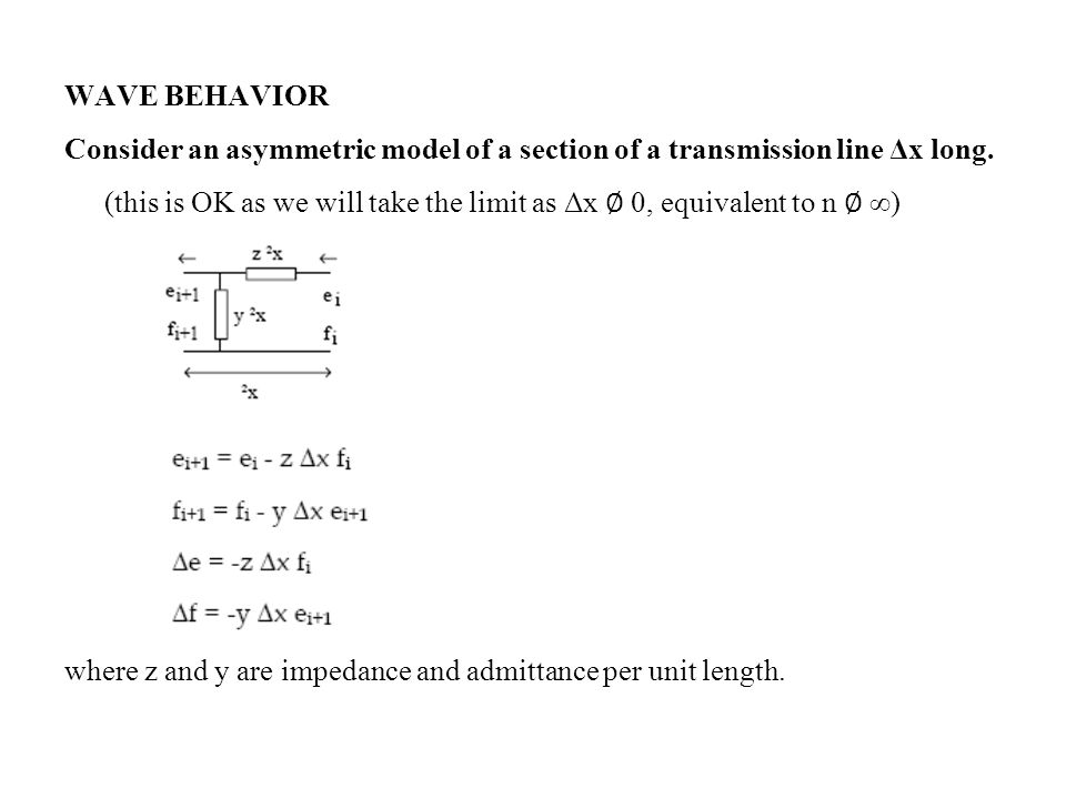 WAVE BEHAVIOR Consider an asymmetric model of a section of a transmission line Δx long. (this is OK as we will take the limit as Δx 0, equivalent to n