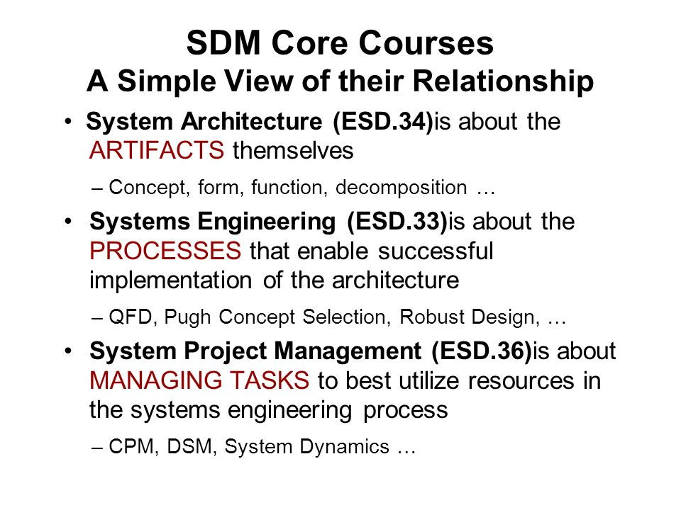 SDM Core Courses A Simple View of their Relationship System Architecture (ESD.34)is about the ARTIFACTS themselves – Concept, form, function, decompos