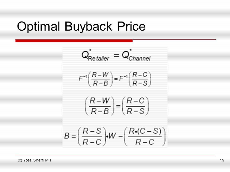 (c) Yossi Sheffi, MIT19 Optimal Buyback Price