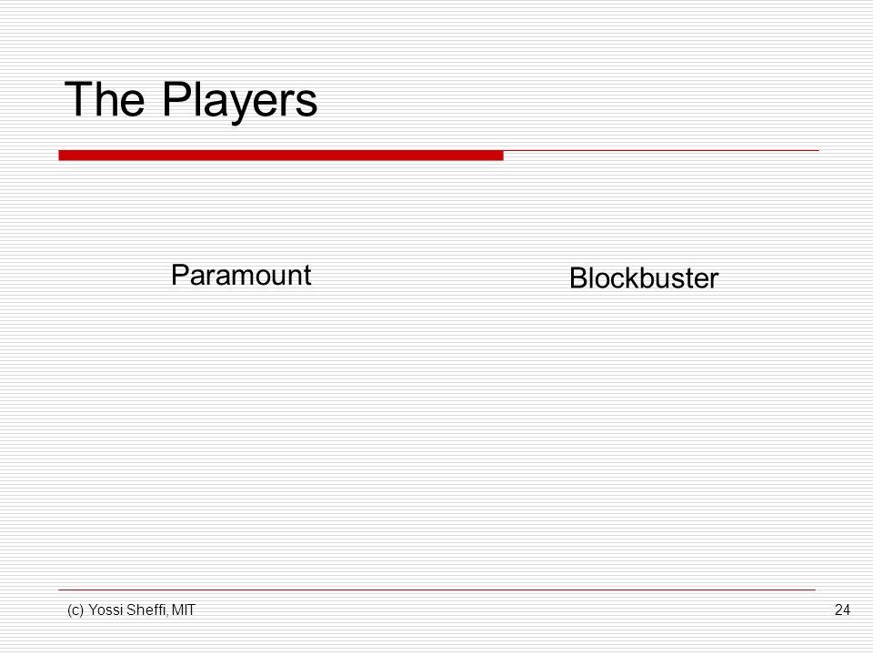 (c) Yossi Sheffi, MIT24 The Players Paramount Blockbuster