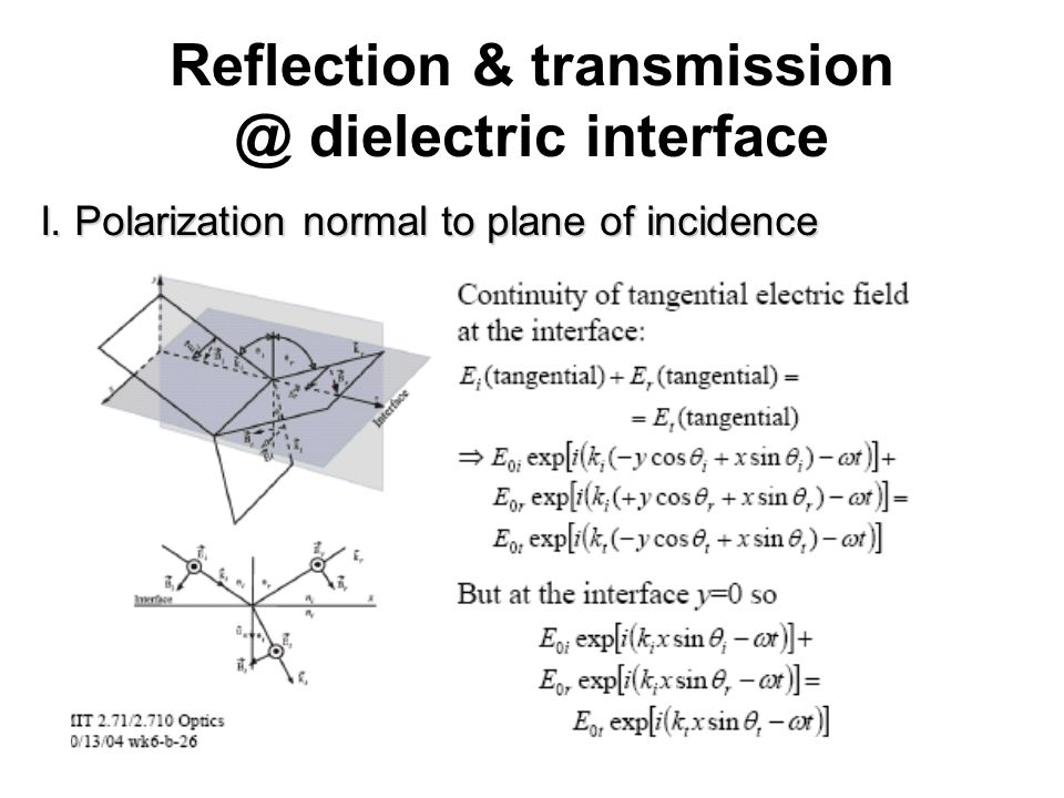 Reflection & transmission @ dielectric interface I. Polarization normal to plane of incidence