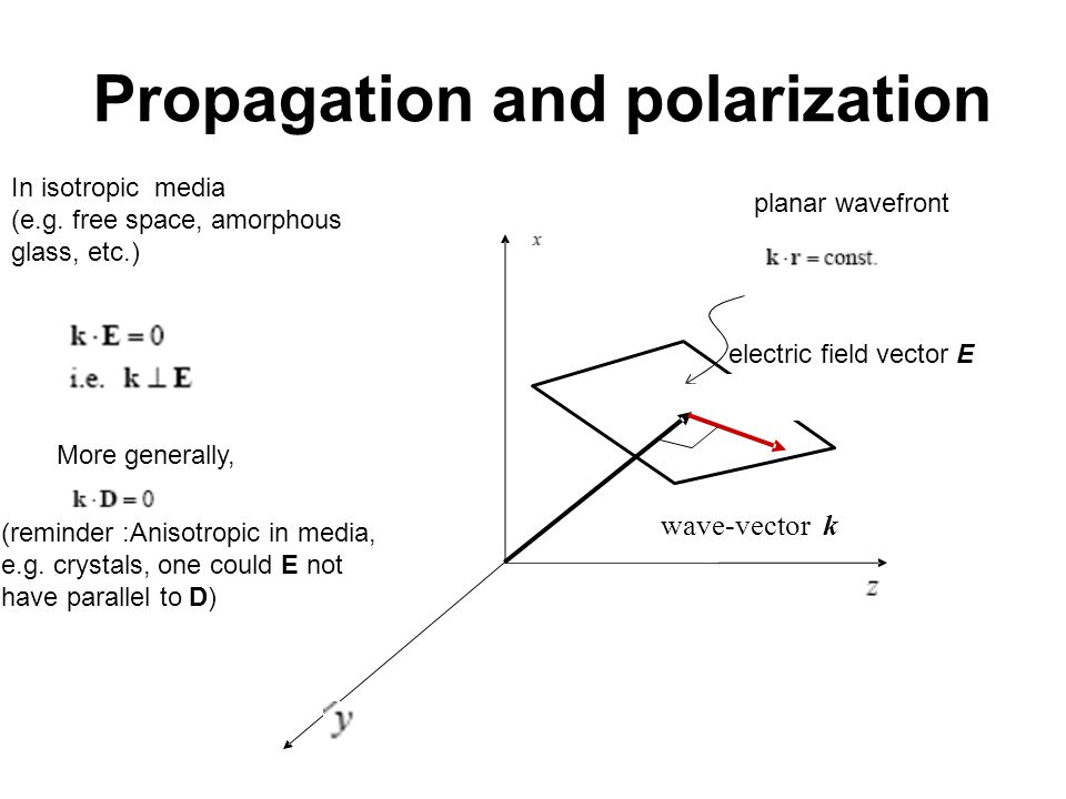 Propagation and polarization In isotropic media (e.g. free space, amorphous glass, etc.) More generally, (reminder :Anisotropic in media, e.g. crystal