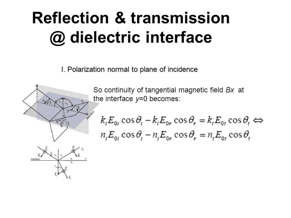 Reflection & transmission @ dielectric interface I. Polarization normal to plane of incidence So continuity of tangential magnetic field Bx at the int