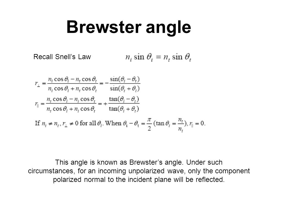 Brewster angle Recall Snells Law This angle is known as Brewsters angle. Under such circumstances, for an incoming unpolarized wave, only the componen