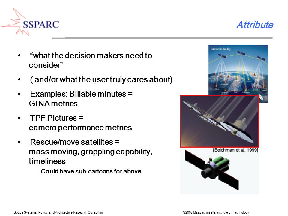 Space Systems, Policy, and Architecture Research Consortium ©2002 Massachusetts Institute of Technology Attribute what the decision makers need to consider ( and/or what the user truly cares about) Examples: Billable minutes = GINA metrics TPF Pictures = camera performance metrics Rescue/move satellites = mass moving, grappling capability, timeliness – Could have sub-cartoons for above