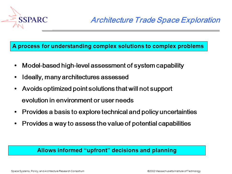 State-of-the-art rapid preliminary design method Design tools linked both electronically and by co-located humans Design sessions iterate/converge designs in hours Requires ready tools, well poised requirements Space Systems, Policy, and Architecture Research Consortium ©2002 Massachusetts Institute of Technology Integrated Concurrent Engineering A process creating preliminary designs very fast Allows rapid reality check on chosen architectures Aids transition to detailed design