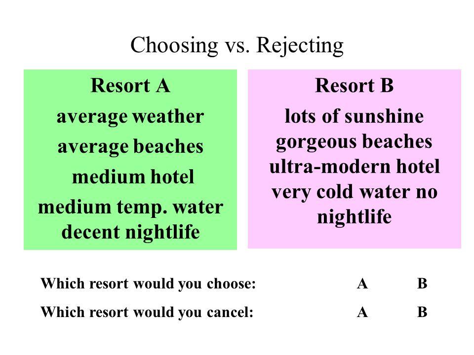 Choosing vs. Rejecting Resort A average weather average beaches medium hotel medium temp.
