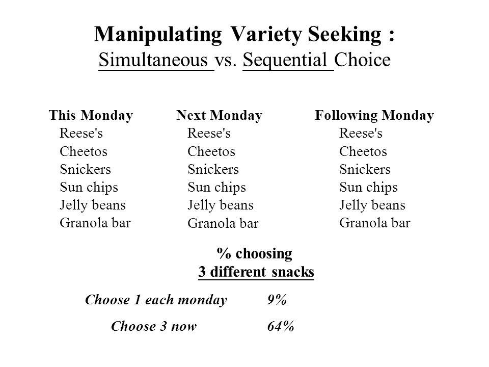 Manipulating Variety Seeking : Simultaneous vs.
