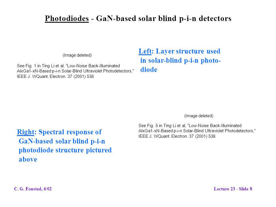 Photodiodes - GaN-based solar blind p-i-n detectors (Image deleted) See Fig.