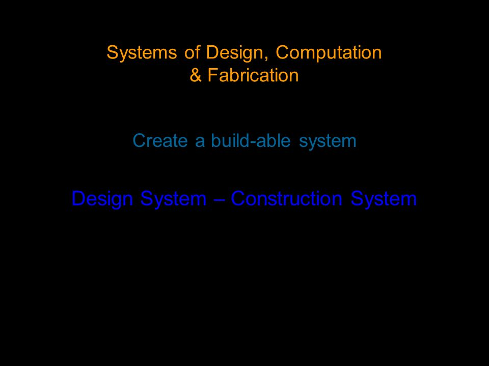 Systems of Design, Computation & Fabrication Create a build-able system Design System – Construction System
