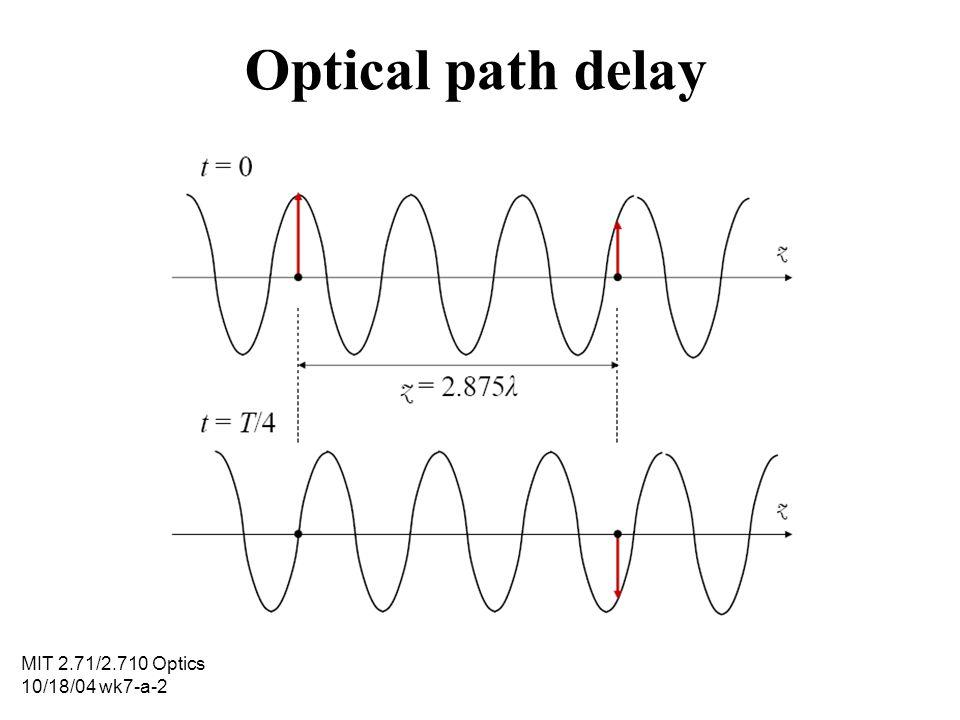 MIT 2.71/2.710 Optics 10/18/04 wk7-a-2 Optical path delay