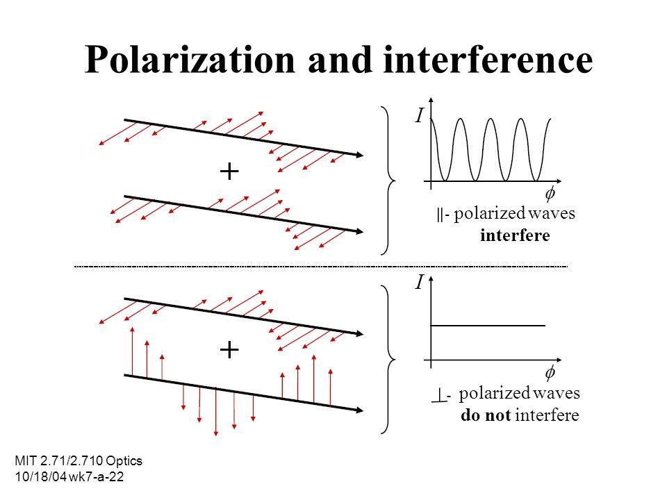 MIT 2.71/2.710 Optics 10/18/04 wk7-a-22 Polarization and interference polarized waves interfere polarized waves do not interfere