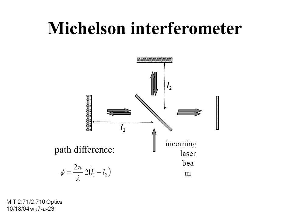 MIT 2.71/2.710 Optics 10/18/04 wk7-a-23 Michelson interferometer incoming laser bea m path difference: