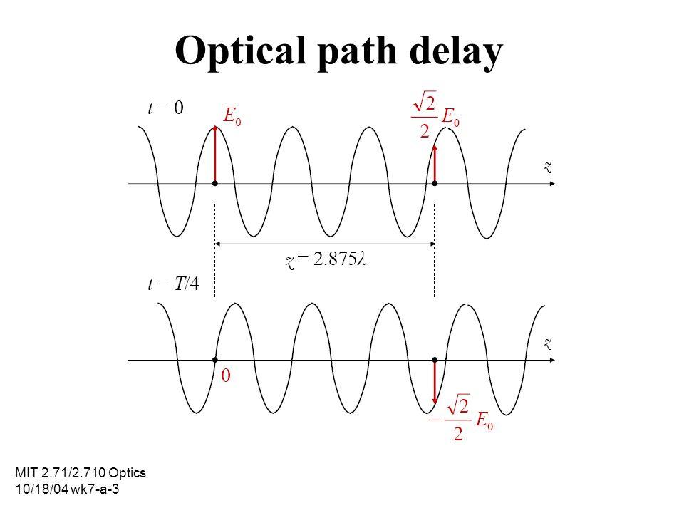 MIT 2.71/2.710 Optics 10/18/04 wk7-a-3 Optical path delay