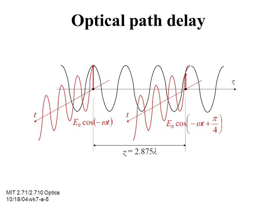 MIT 2.71/2.710 Optics 10/18/04 wk7-a-5 Optical path delay