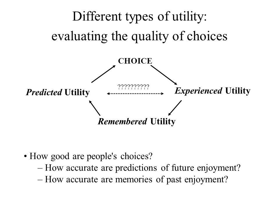 Different types of utility: evaluating the quality of choices How good are people's choices? – How accurate are predictions of future enjoyment? – How