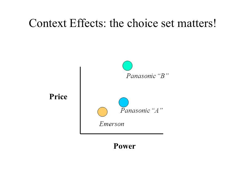 Context Effects: the choice set matters! Price Power Panasonic B Panasonic A Emerson