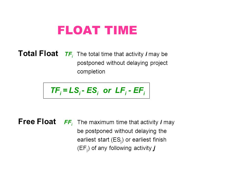 FLOAT TIME Total Float TF i The total time that activity i may be postponed without delaying project completion TF i = LS i - ES i or LF i - EF i Free Float FF i The maximum time that activity i may be postponed without delaying the earliest start (ES j ) or earliest finish (EF j ) of any following activity j