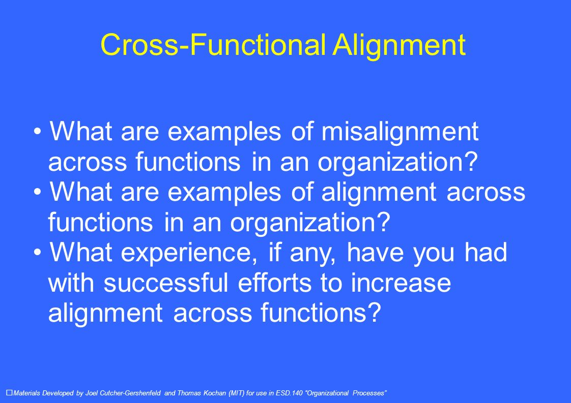Cross-Functional Alignment What are examples of misalignment across functions in an organization.