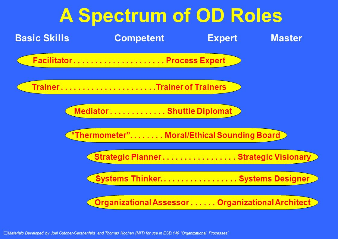 A Spectrum of OD Roles Materials Developed by Joel Cutcher-Gershenfeld and Thomas Kochan (MIT) for use in ESD.140 Organizational Processes Basic SkillsCompetent ExpertMaster Facilitator.....................