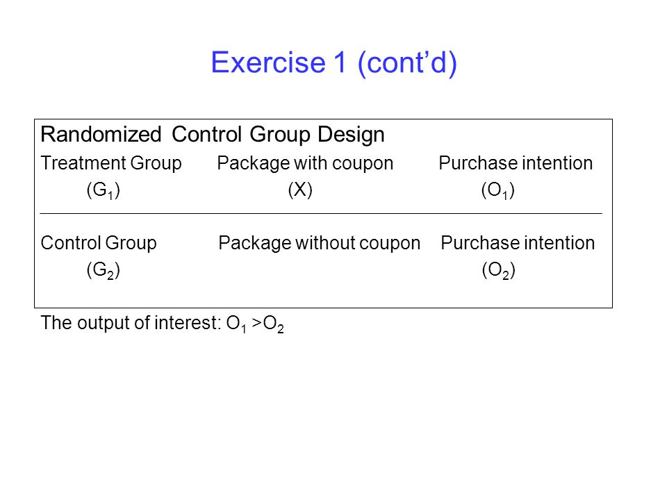 Exercise 1 (contd) Randomized Control Group Design Treatment Group Package with coupon Purchase intention (G 1 ) (X) (O 1 ) Control Group Package with