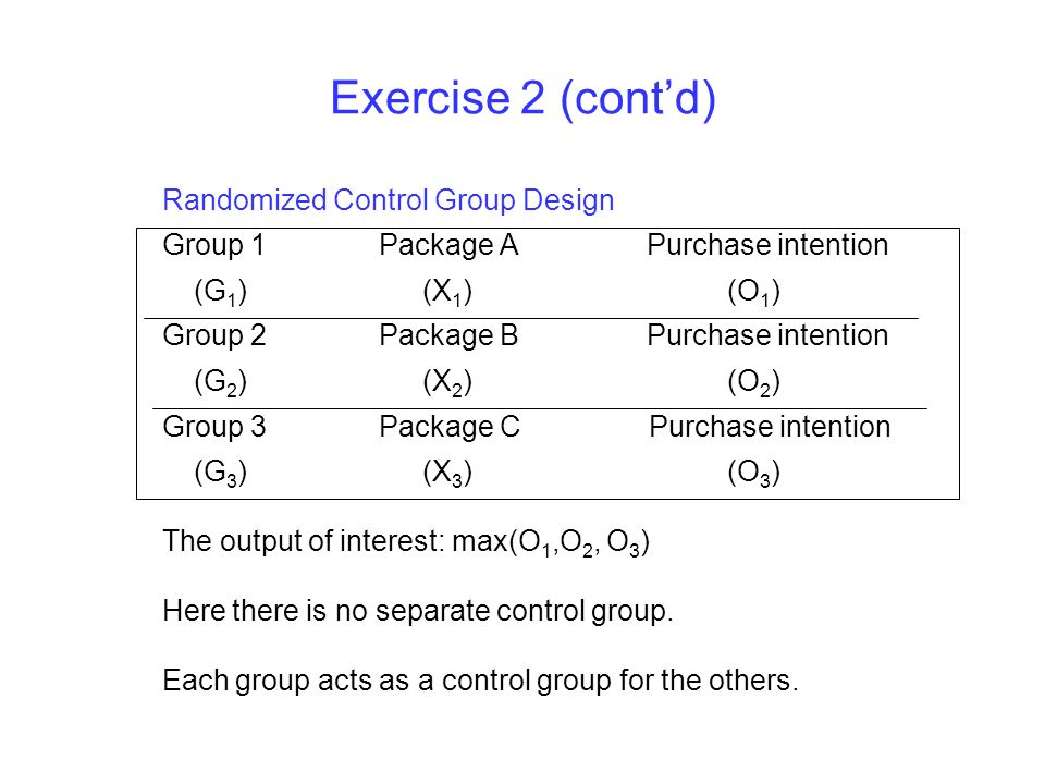 Exercise 2 (contd) Randomized Control Group Design Group 1 Package A Purchase intention (G 1 ) (X 1 ) (O 1 ) Group 2 Package B Purchase intention (G 2