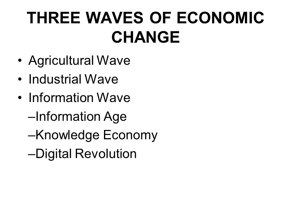 THREE WAVES OF ECONOMIC CHANGE Agricultural Wave Industrial Wave Information Wave –Information Age –Knowledge Economy –Digital Revolution