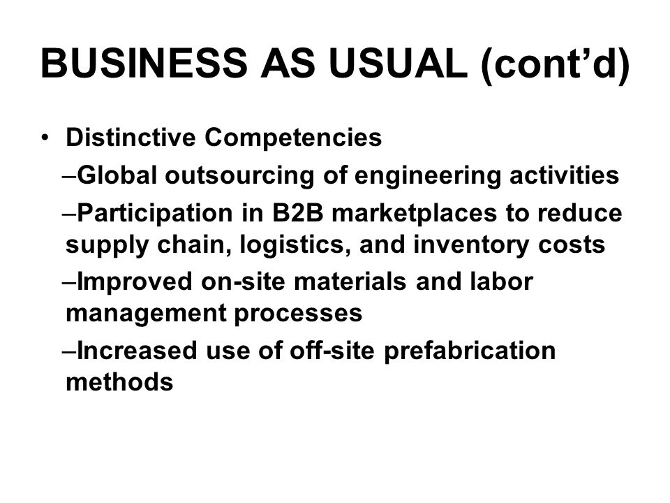 BUSINESS AS USUAL (contd) Distinctive Competencies –Global outsourcing of engineering activities –Participation in B2B marketplaces to reduce supply chain, logistics, and inventory costs –Improved on-site materials and labor management processes –Increased use of off-site prefabrication methods