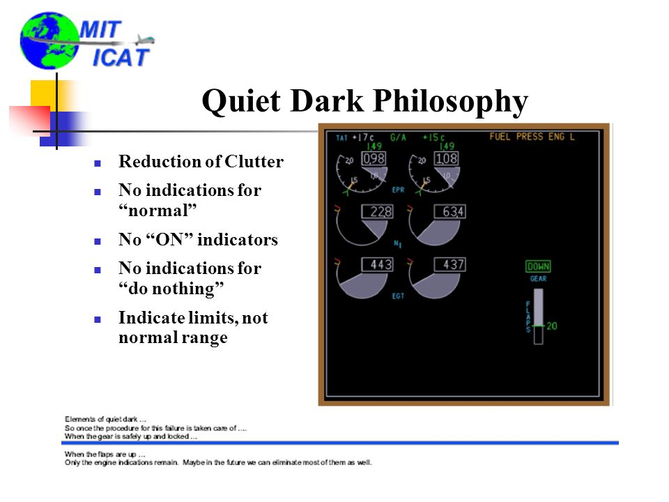 Quiet Dark Philosophy Reduction of Clutter No indications for normal No ON indicators No indications for do nothing Indicate limits, not normal range
