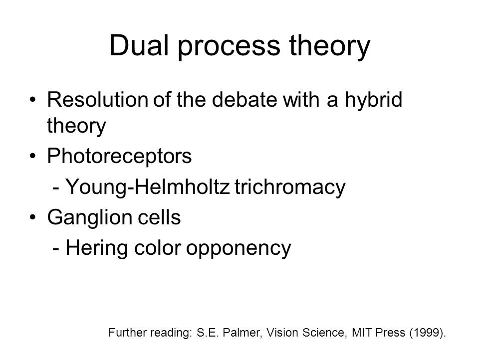 Dual process theory Resolution of the debate with a hybrid theory Photoreceptors - Young-Helmholtz trichromacy Ganglion cells - Hering color opponency