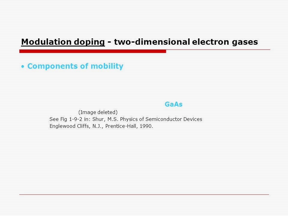 Modulation doping - two-dimensional electron gases Components of mobility GaAs (Image deleted) See Fig 1-9-2 in: Shur, M.S. Physics of Semiconductor D