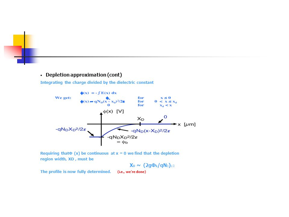 Depletion approximation (cont) Integrating the charge divided by the dielectric constant Requiring thatΦ (x) be continuous at x = 0 we find that the d
