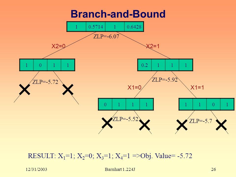 12/31/2003Barnhart 1.224J26 Branch-and-Bound 10.571410.6428 10110.2111 01111101 X2=0X2=1 ZLP=-6.07 ZLP=-5.72 X1=0 ZLP=-5.92 X1=1 ZLP=-5.52 ZLP=-5.7 RE