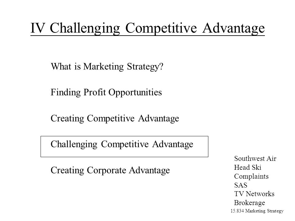 15.834 Marketing Strategy IV Challenging Competitive Advantage What is Marketing Strategy.