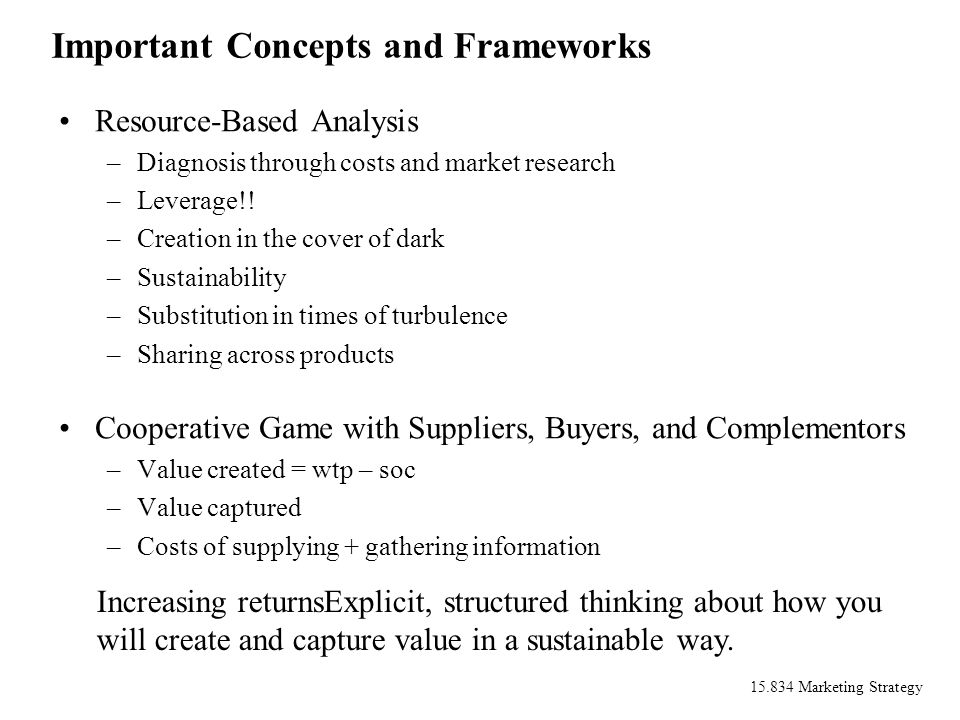 15.834 Marketing Strategy Important Concepts and Frameworks Resource-Based Analysis –Diagnosis through costs and market research –Leverage!! –Creation