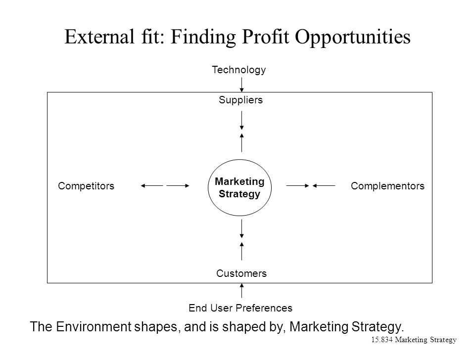 15.834 Marketing Strategy External fit: Finding Profit Opportunities Marketing Strategy Technology Suppliers Customers CompetitorsComplementors End User Preferences The Environment shapes, and is shaped by, Marketing Strategy.