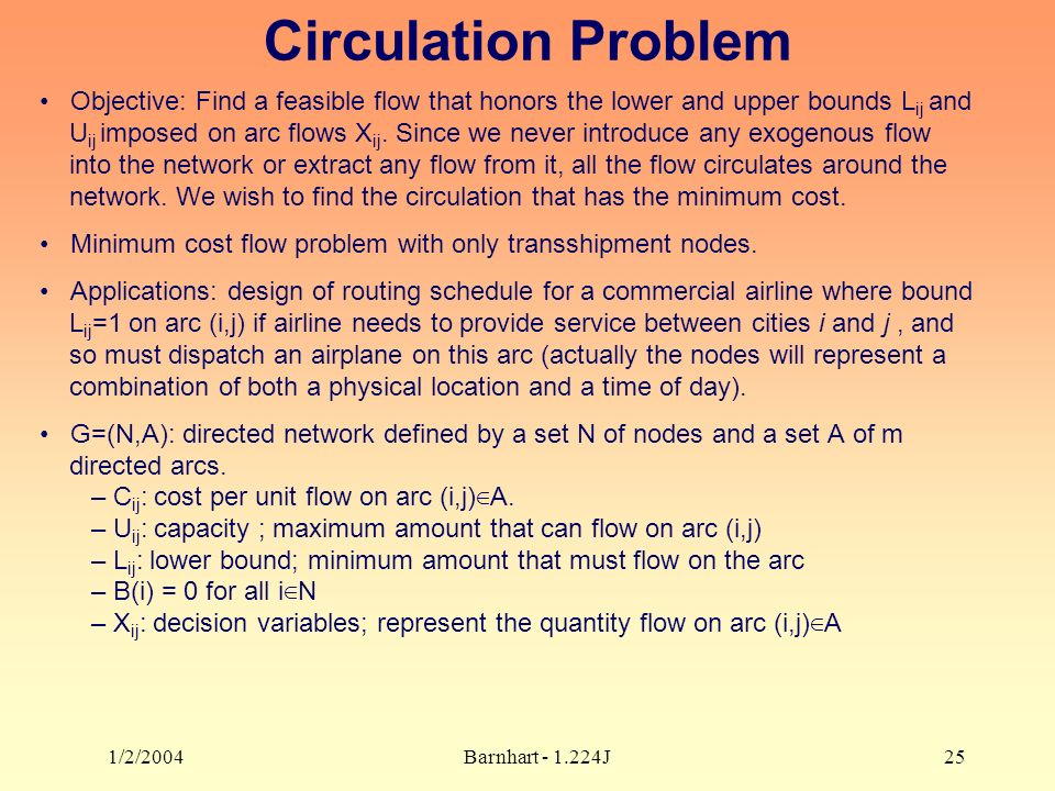 1/2/2004Barnhart J25 Circulation Problem Objective: Find a feasible flow that honors the lower and upper bounds L ij and U ij imposed on arc flows X ij.