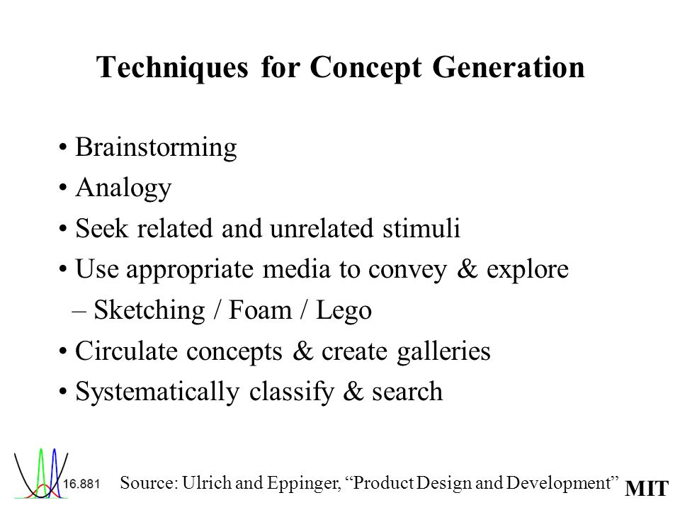 MIT Techniques for Concept Generation Brainstorming Analogy Seek related and unrelated stimuli Use appropriate media to convey & explore – Sketching /