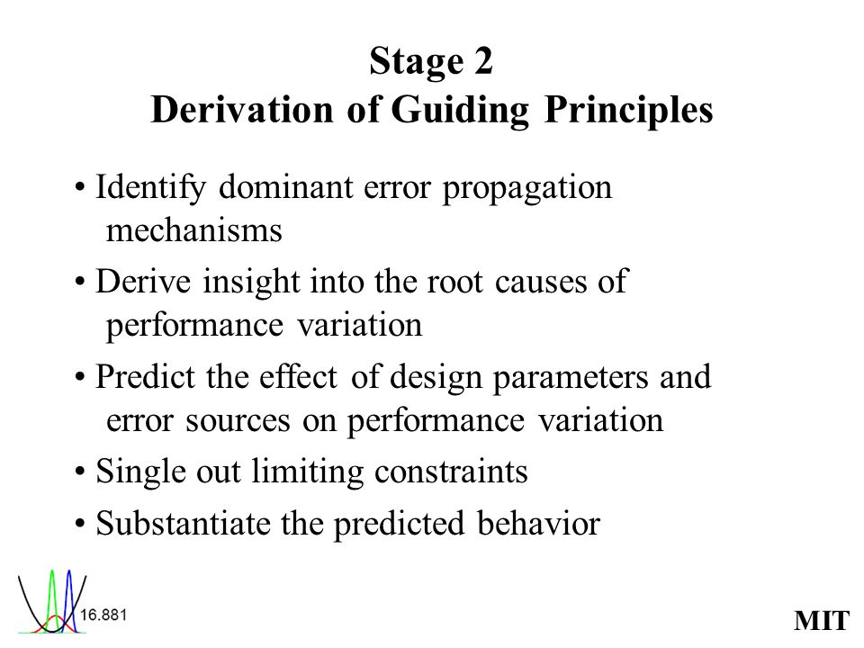MIT Stage 2 Derivation of Guiding Principles Identify dominant error propagation mechanisms Derive insight into the root causes of performance variation Predict the effect of design parameters and error sources on performance variation Single out limiting constraints Substantiate the predicted behavior