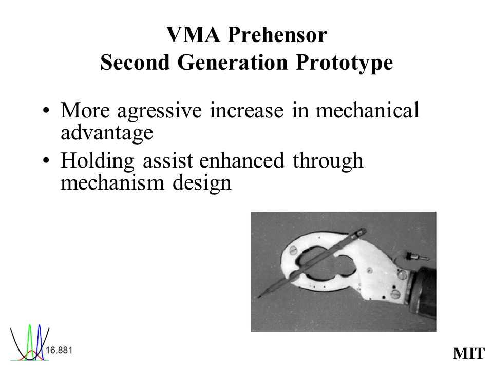 MIT VMA Prehensor Second Generation Prototype More agressive increase in mechanical advantage Holding assist enhanced through mechanism design