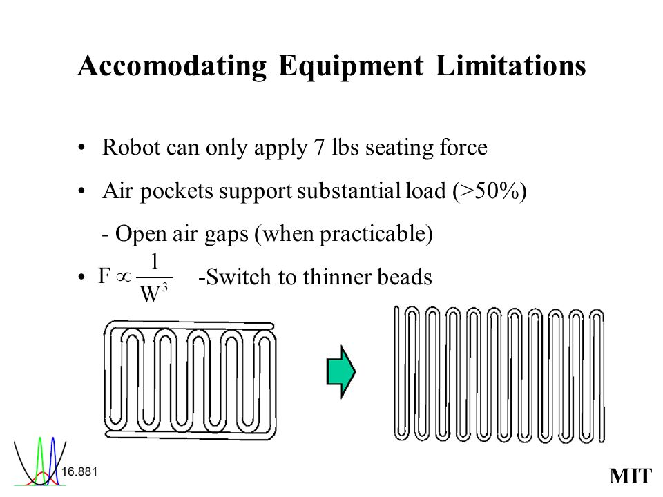 MIT Accomodating Equipment Limitations Robot can only apply 7 lbs seating force Air pockets support substantial load (>50%) - Open air gaps (when prac