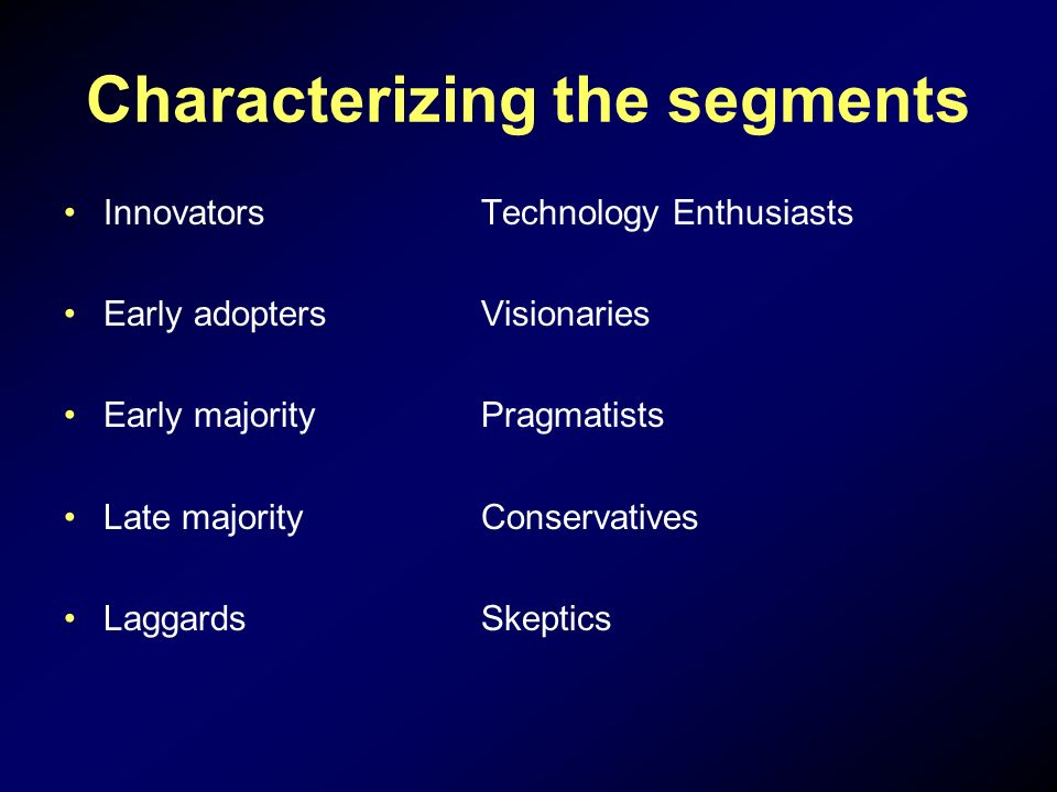 Characterizing the segments Innovators Early adopters Early majority Late majority Laggards Technology Enthusiasts Visionaries Pragmatists Conservatives Skeptics