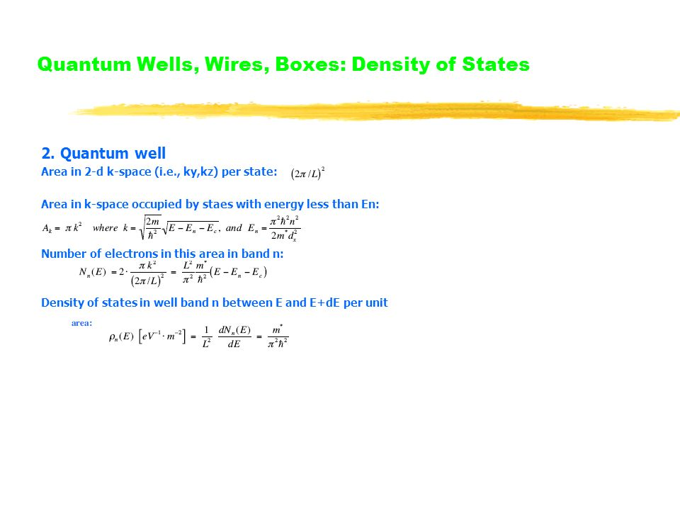 Quantum Wells, Wires, Boxes: Density of States 2.
