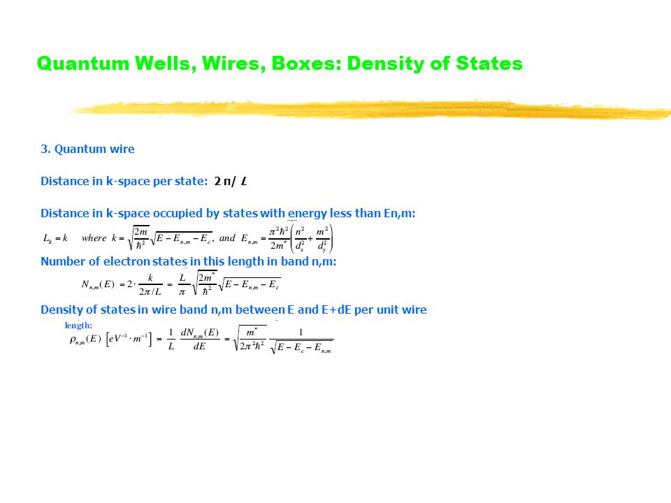Quantum Wells, Wires, Boxes: Density of States 3.