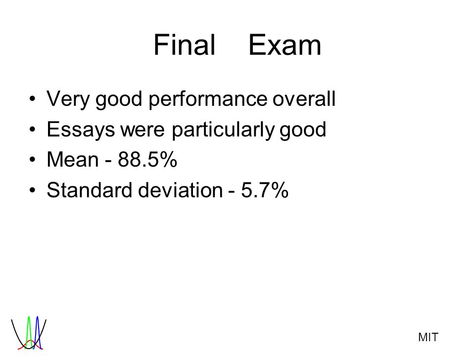 MIT FinalExam Very good performance overall Essays were particularly good Mean - 88.5% Standard deviation - 5.7%