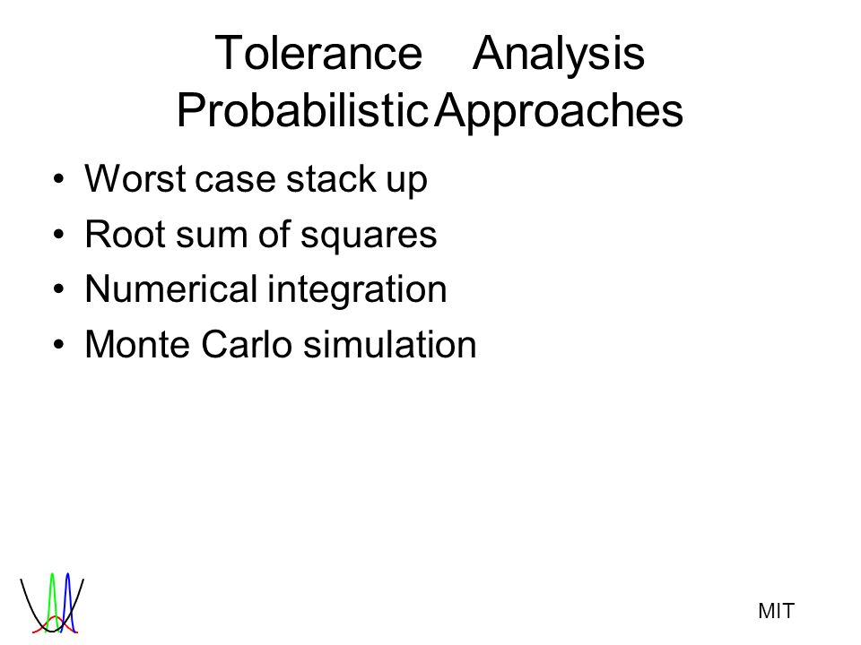 MIT ToleranceAnalysis ProbabilisticApproaches Worst case stack up Root sum of squares Numerical integration Monte Carlo simulation