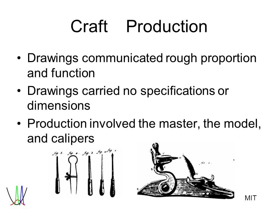 MIT CraftProduction Drawings communicated rough proportion and function Drawings carried no specifications or dimensions Production involved the maste